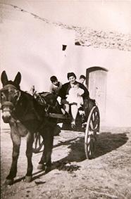 Agriturismo Siracusa: mamma Concettina a bordo del calesse che ci ha portati in azienda il giorno del trasloco da Solarino, nel 1960